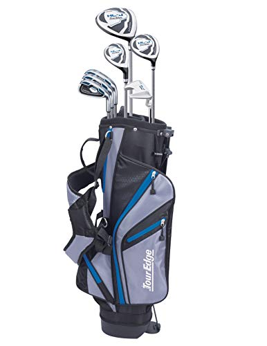 Tour Edge HL-J Junior Complete Golf Set with Bag (Left Hand, Graphite, 1 Putter, 3 Irons, 1 Hybrid, 1 Fairway, 1 Driver 11-14 YRS) Royal Blue