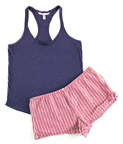 yfair Racerback Tank and Short Set Medium Purple/Pink Stripe ()