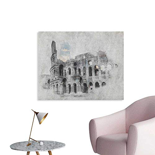 - Sketchy Photographic Wallpaper Ancient Historical Ruins Colosseum Artwork Italy Rome Antique Cultural Inspiration Funny Poster Beige Black W36 xL32