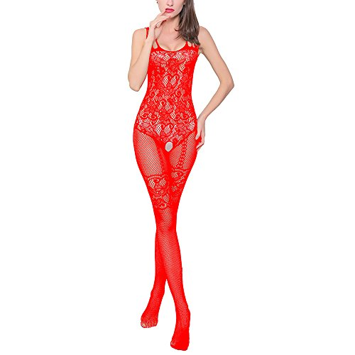 Aomtelove Sexy Women Lace Lingerie Teddy Stretch Fishnet Floral Crotchless Bodystockings Babydoll Open Crotch Tights Bodysuits Red