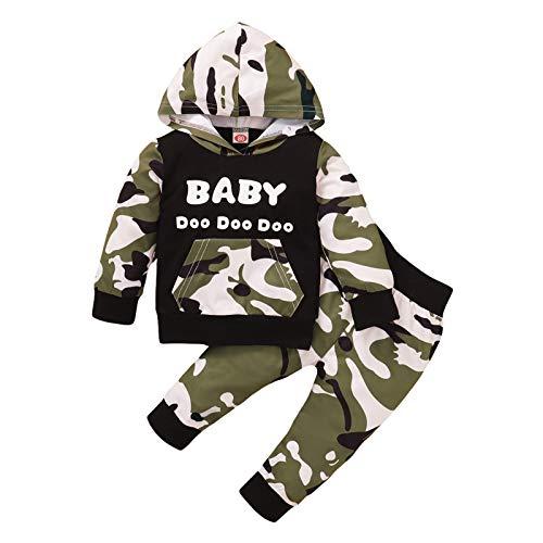Xmiral Baby jongens lange mouwen brief hoodie + broek camouflage outfits