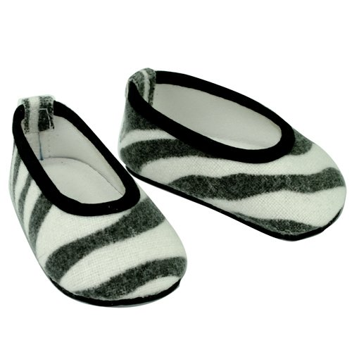 18 Inch Doll Shoes. Slip on Zebra Print Shoes Fits 18 Inch American Girl Dolls & More! Doll Accessories of Zebra Print Doll Shoes