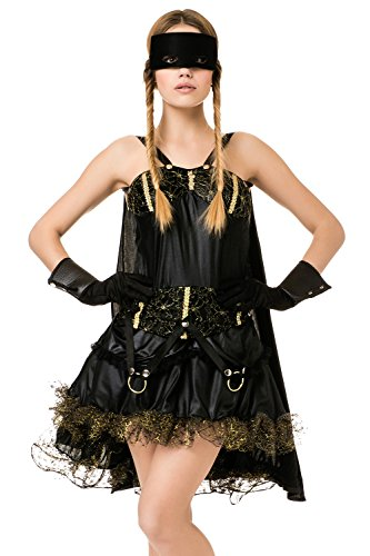 Female Cosplay Costumes Pics (Adult Women Masked Noble Outlaw Vigilante Costume Cosplay & Role Play Dress Up (Small/Medium, Black))