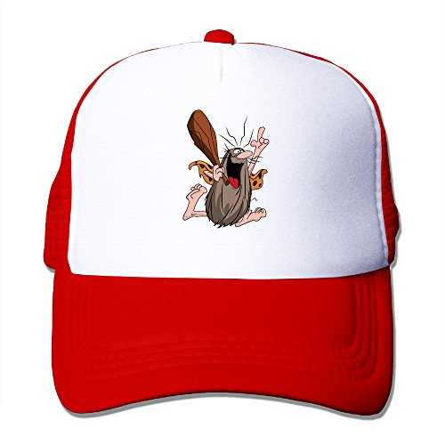 Basee Captain Caveman Funny Cartoon Adjustable Baseball Caps Red