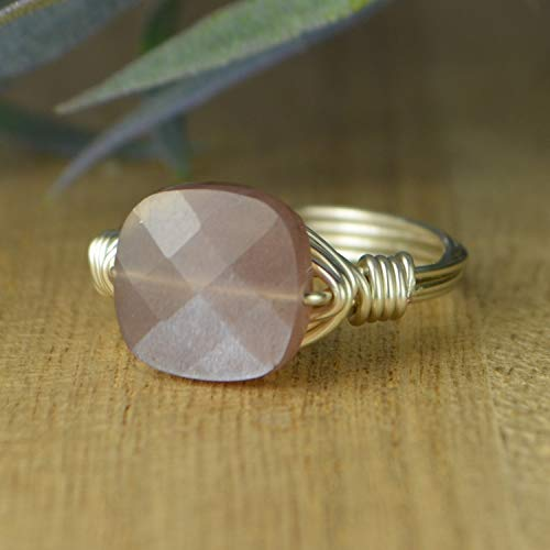 Square Faceted Chocolate Moonstone Gemstone and Sterling Silver, Yellow, or Rose Gold Filled Wire Wrapped Ring- Custom Made to Size 4-14 (Chocolate Wrapped Custom)