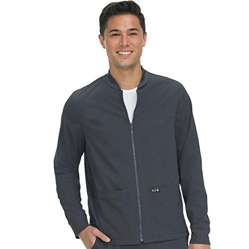 KOI Basics Unisex Hayden Zip Front Solid Scrub Jacket Medium Charcoal by KOI