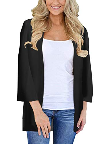 Womens Kimono Cardigan Beach Cover Up Floral Chiffon Loose Capes (Black,XL)
