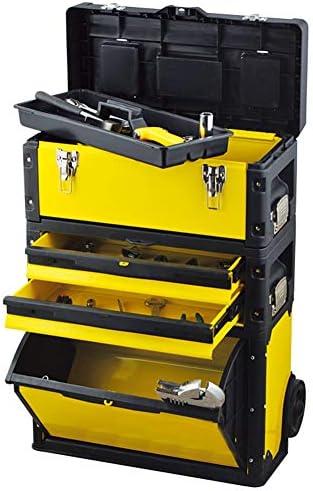 Taller Movil Modular,Caja Herramientas De Carro Rodante 3 En 1,Organizador De Cajas Para Construcción Edificios,Instalación Agua Y Electricidad,Maquillaje,Peluquería,520×320×720Mm,Amarillo: Amazon.es: Bricolaje y herramientas