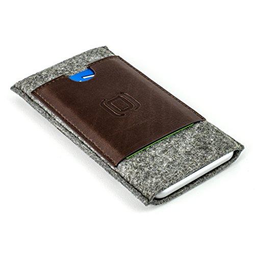 Dockem Filz Hülse für iPhone und Karte - iPhone 7 Plus, 6S Plus und 6 Plus-Sleeve mit Brieftaschenfunktion- Minimalistische Vintage-Schutzhülle aus Filz und Kunstleder - mit 2 Einschüben für Karten