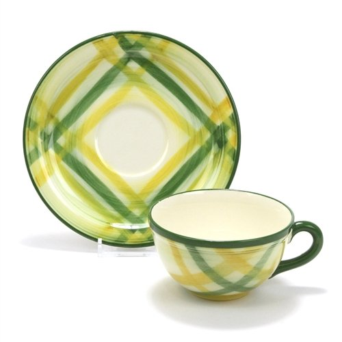 Gingham Green by Poppytrail, Metlox, China Cup & Saucer