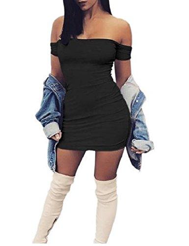 Coolred Sottili Colore Senza Nero donne Mini Di Clubwear Puro Misura Spalline Bodycon 6nra4wnx