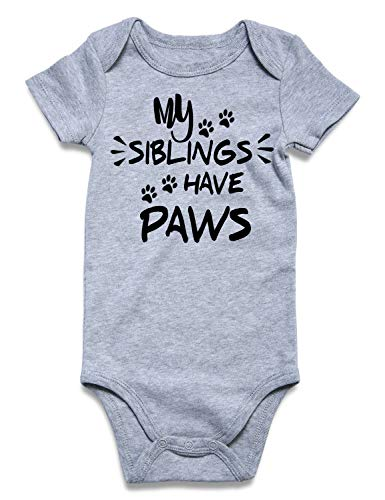 Uideazone My Siblings Have Paws Funny Baby Bodysuit Infant Cotton One Piece Bodysuit Rompers ()