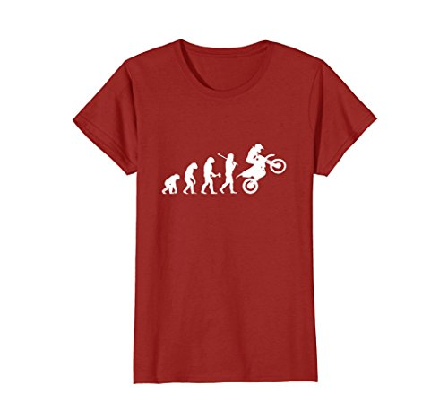 Womens Motocross TShirt Funny Evolution Dirt Bike Rider Wheelie Medium (Bike Evolution T-shirt)