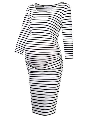 Liz Lange Maternity Dress - Coolmee MissQee Ruched Maternity Dress Round Neck Maternity Dress 3/4 Sleeve Maternity Dresses M Black#White
