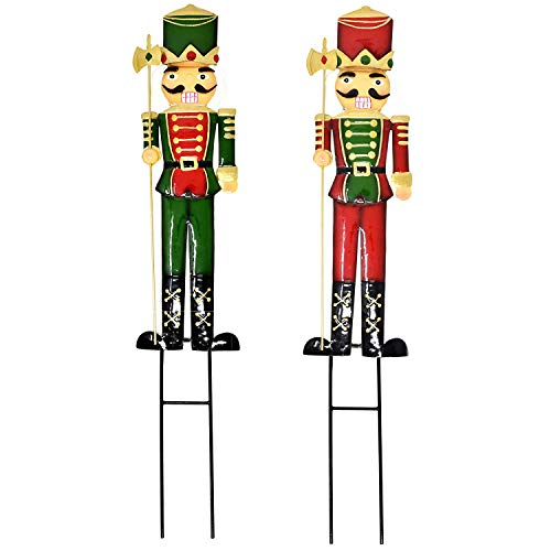 Gift Boutique 2 Nutcracker Christmas Yard Stakes Metal Soldier Outdoor Decorations Lawn Decor for Holiday Signs Pathway Driveway Nutcrackers 27.5