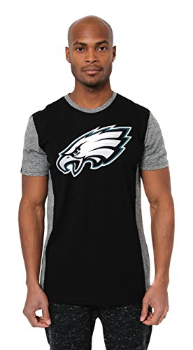 (ICER Brands NFL Philadelphia Eagles Men's T-Shirt Raglan Block Short Sleeve Tee Shirt, Large, Black)