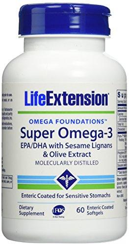 Omega-3 Epa/Dha with Sesame Lignans & Olive Fruit Enteric Coated Softgels, 60 Count (Lignans 60 Softgels)