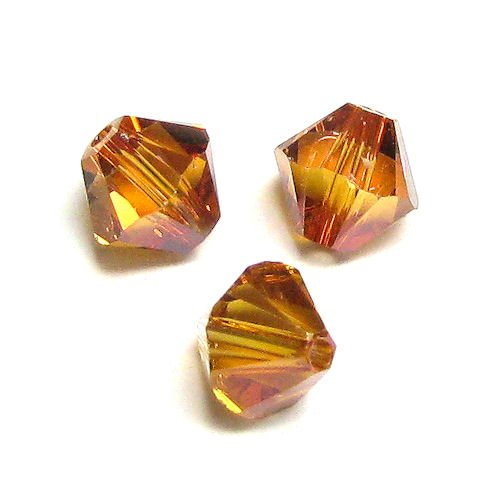 72 pcs Swarovski Crystal 5328 Xilion Bicone Bead Spacer Copper 3mm / Findings/Crystallized Element