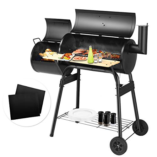 Giantex BBQ Grill with 2 PCS BBQ Grill Mat, Charcoal Barbecue Grill with Non Stick Baking Mats Offset Smoker Barbecue Oven with 2 PCS Bake Nonstick Grilling Mats, Perfect for Patio, Home Use