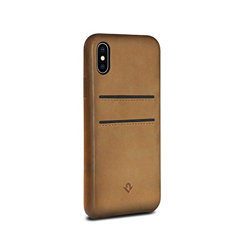 Twelve South Relaxed Leather Case for iPhone XS / iPhone X | Hand Burnished Leather Wallet Shell (Cognac) ()