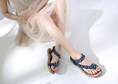 Pedrería Las de Muchachas Blue de XiMu Mujeres Beach Sandalias Shoes Nuevas Flores Sandalias Bohemia étnicas Las OCwnSBq0n