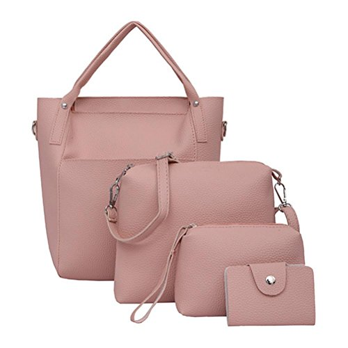 - 4 PCs Women Handbag Shoulder Bags Four Pieces Tote Bag Crossbody Wallet Set by VESNIBA