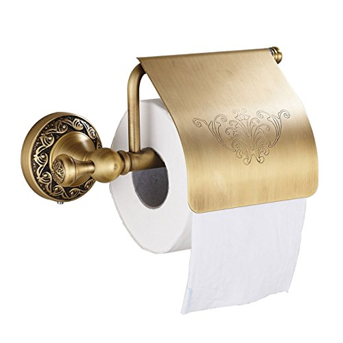 Oulantron Antique Brass Toilet Paper Holder Roll Tissue Bracket Wall Mounted