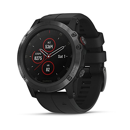 Garmin Fenix 5 Plus, Premium Multisport GPS Smartwatch, Features Color TOPO Maps, Heart Rate Monitoring, Music and Garmin Pay, Black with Black Band