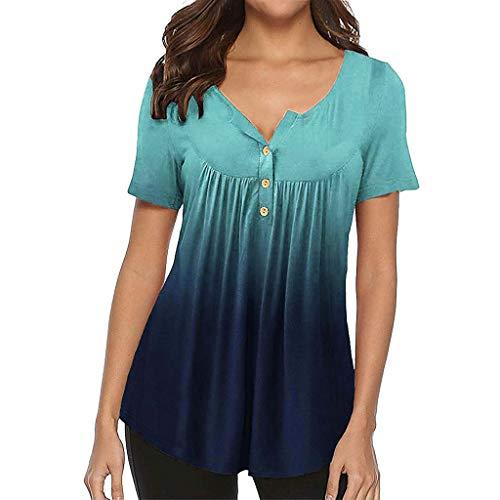 Women Tops, Caopixx Summer Gradient Row Pleats Button Down Ruched Short Sleeve Irregular T-Shirt Blouse Blue