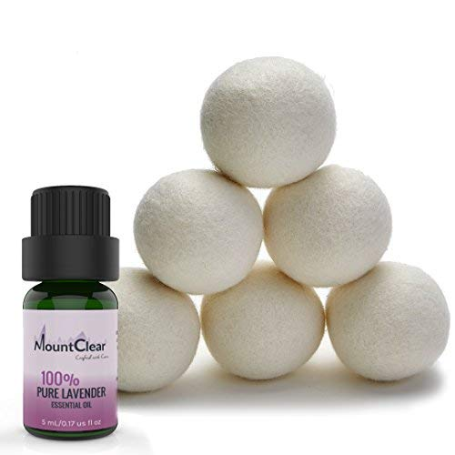 Price comparison product image Mountclear Wool Dryer Balls-Lavender Scented Oil Fabric Softener-All Natural, Chemical Free and Hypoallergenic Reusable Washer Balls-Shorter Drying Time Saves Time and Money-Laundry Balls