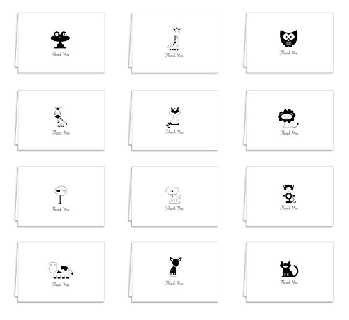 Guajolote Prints Adorable Animals Thank You Cards & Envelopes 12-Pack Black and White