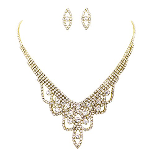 Rosemarie Collections Women's Draped Rhinestone Necklace and Earrings Set (Gold Tone) ()