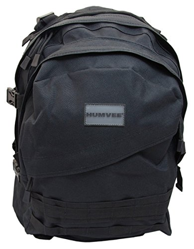 Cheap HUMVEE HMV-GB-02BLK Double Reinforced Day Pack with Compression Handles, Black