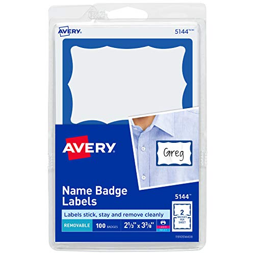 Avery Personalized Name Tags, Print or Write, Blue Border, 2-1/3