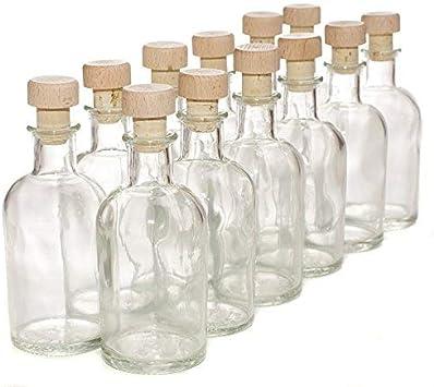 Pack de 12 botellas de cristal italiano - Con tapones de corcho y madera - 100 ml