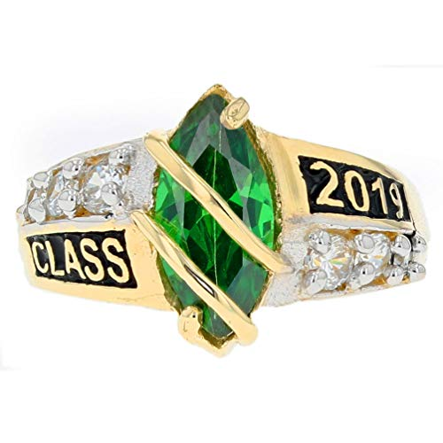10k Solid Gold Simulated May Birthstone Class of 2019 Graduation Ring