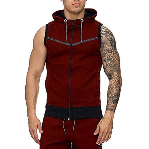 (POQOQ Hot Sauna Sweat Suits,Zipper Closure Tank Top Shirt for Weight Lost,Waist Trainer Vest Slim Belt Workout Fitness-Breathable, Neoprene Fabric XL Red)