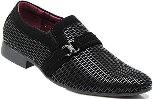 Enzo Romeo Plum05 Men's Dress Loafers Elastic Slip on with Buckle Fashion Shoes (12 D(M) US, Black/Black) ()