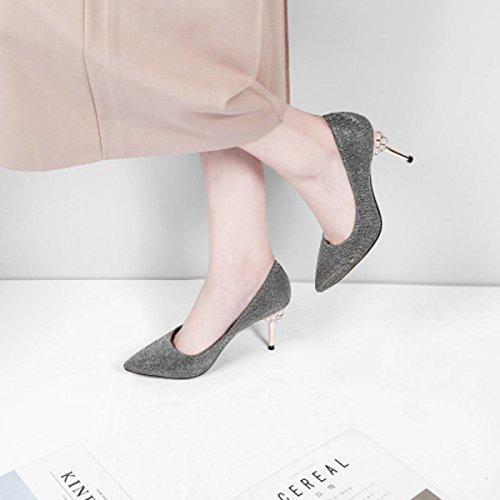 Femmes Talons Hauts Printemps Pointu Orteil Bleu à Talons Hauts Paillettes Pompes Mariage Cour Chaussures Dames Bal Fermé Chaussures De Mariée Orteil Grey nOFtEt8FL