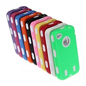 Heavy Duty Armor Hybrid Tough Silicone Hard Back Case For iPhone 4 & Color = Green
