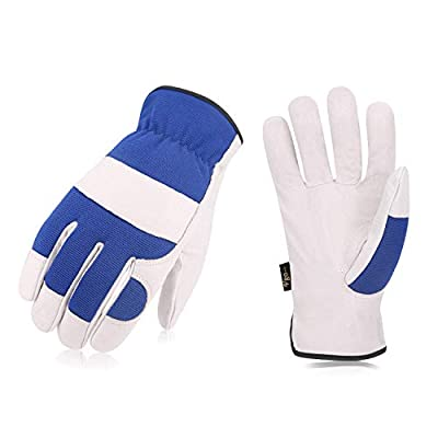 Vgo 3Pairs Pigskin Leather Work Garden Gloves, Multifunction, Driver and Work Construction Gloves (Blue,PA7226)