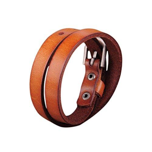 Zen Styles Orange Biker Rock Classic Double Wrap Leather Cowhide Buckle Bracelet – Round Cuff Bracelet with Easy Hook Clasp for Men. Fashion (Orange Leather Bracelet)