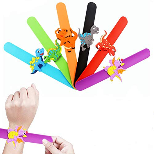 Slap Bands, Silicone Wristbands 6pcs Snap Bands for Kids Boys Girls Goodie Bag Halloween Christmas Stocking Fillers Birthday Gift Dino Party Supplies Dinosaur Slap Bracelet (6pcs Dinosaur Set 1) -
