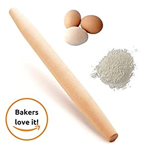 """French Wooden Rolling Pin 18"""" x 1.55"""" for Baking Pizza Pastry Dough, Pie Crust & Cookie - Kitchen Cuisine Utensil Smooth Tools Gift Ideas for Professional Bakers, Restaurants, Grandmas - MR. WOODWARE 9 ✅ MASSIVE 18"""" INCH FRENCH ROLLING PIN - Mr. Woodware offers you a professional wooden french rolling pin for rolling your pizza, pastry or pie dough and storing away. ✅ CRAFTED WITH CARE - High quality beech wood, tapered, easy-grip very smooth on touch for endless rolling. ✅ DISHWASHER SAFE - There are 2 ways of cleaning: You can let dishwasher do the job or wipe it with a clean cloth. Rinsing under the water is also good especially if dough is stuck to the pin just flour the pin lightly, then brush the flour and dough off the pin with hands and the wipe it with a towel."""