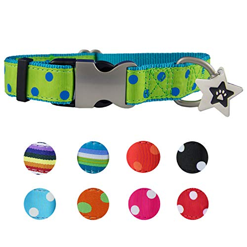 Cute Dog Collars for Small Dogs | Small Dog Collar - Pink, Red, Spots for Female & Male | Soft Nylon Dog Ribbon Collar - Metal Buckle - Adjustable Size -