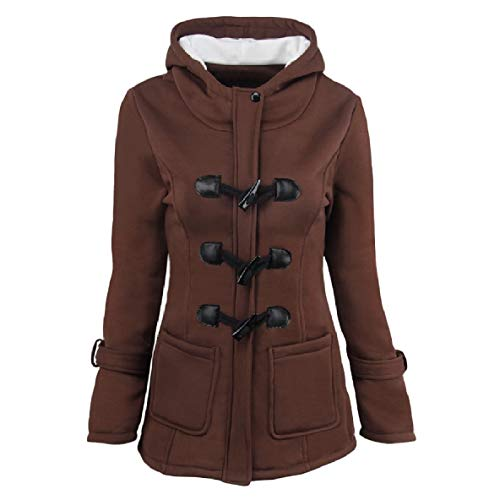 XINHEO Womens Solid Pocket Long-Sleeve Plus-Size Mid-Long Hoode Coat Jacket Coffee