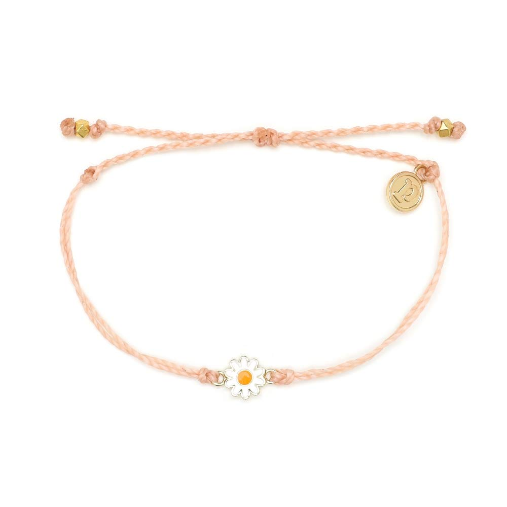 Pura Vida Gold Daisy Blush Bracelet - Waterproof, Artisan Handmade, Adjustable, Threaded, Fashion Jewelry for Girls/Women