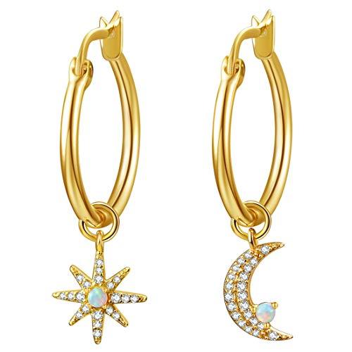 Moon & Star Charms Huggie Hoop Earrings for Women, Dangle Hoops for Teen Girls, 14K Gold Plated with Cubic Zirconia & Opal Earrings