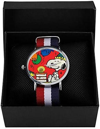 Snoopy Montre à Quartz Happy Birthday Loisir pour Homme Femme Enfant Amis Cadeaux
