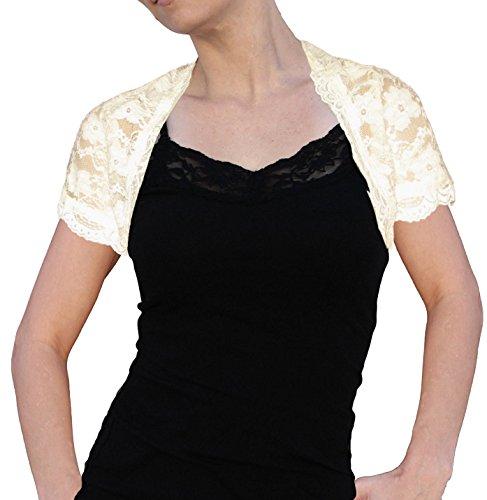 Ooh la la Stretch Lace Short Sleeve Bolero Shrug Jacket (Med Cream) (Bolero Nylon)
